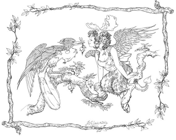 Adult Coloring Page Be Mine Bird and Faun