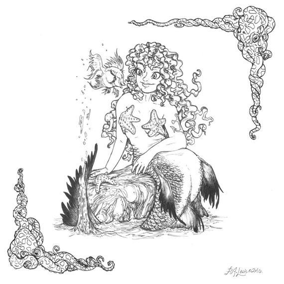 Adult Coloring Book Starfish Mermaid