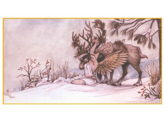 Winter Warmth: A Woodland Yule in a Digital Print