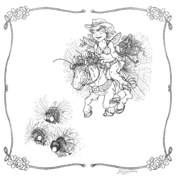 Adult Coloring Page Bumble Bee Wrangler Fairy and Humming Horse