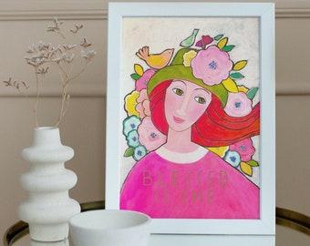 pretty faces, print on paper, paper print, portrait on paper, scripture art print Christian floral art home decor