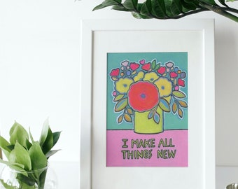 scripture art print Christian floral art home decor