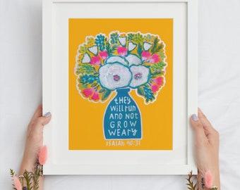 colorful floral art prints, prints on paper, paper prints, scripture art print Christian floral art home decor