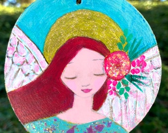 Angel Christmas ornaments, Angel wood ornaments, round wood ornaments, Angel decorations, Angel wings, Angel halo, glitter