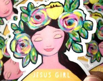 Christian sticker Jesus girl vinyl sticker floral pretty face