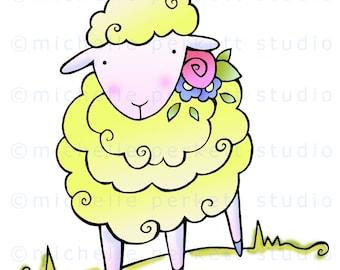 digital download, printable, digital stamp image, cute, lamb, sheep, Easter animals, baby, scrapbooking, cardmaking, paper crafts