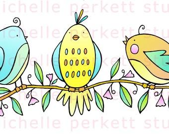 digital download, digital stamp, printable, cardmaking, cute bird images, flowers, happy, spring scrapbooking, tree, leaves