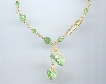 Beautiful Handcrafted Swarovski PERIDOT GREEN Crystal Heart Charm Bracelet in Gold Filled or Sterling Silver