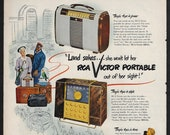 Vintage 1949 Radio Ad Land sakes she won 39 t let her RCA VICTOR Portable out of her sight quot
