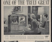 Vintage 1949 PHILCO CONSOLE TV, Phonograph and Radio Ad One of the Truly Great