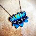 tattoo necklace lotus bright aqua blue shaded dark blue NEW silver chain