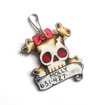 Cute girly skull with pink bow pet ID tag