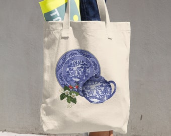 Blue Willow China Plate & Teapot with Strawberries Cotton Tote Bag Carryall