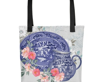 Beautiful Blue Willow China Platter & Pitcher With Flowers Tote Bag Carryall
