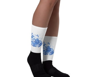Classic Blue Willow China Design Misses' Ladies' Women's Socks