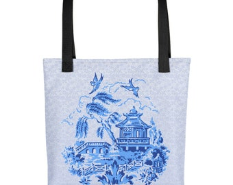 Classic Blue Willow China Design on Blue Lace Print Tote bag Carryall