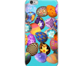 All Over Easter Eggs on Blue Cell Phone Case iPhone Case 6 Plus, 6/6s, 7 Plus, 8 Plus, X