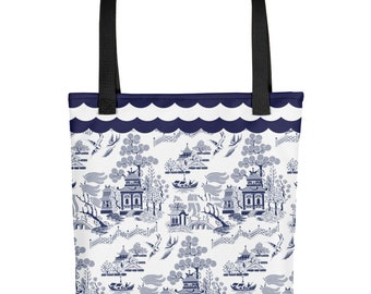 Classic Blue Willow China Print Chinoiserie Design Tote bag Carryall
