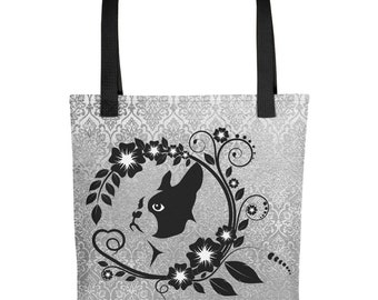 Boston Terrier on Silver Damask (2) Tote bag