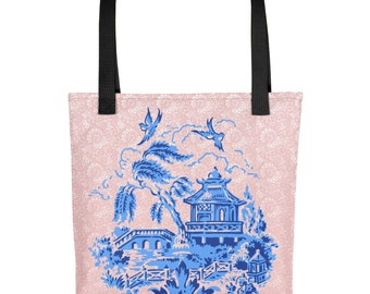 Classic Blue Willow China Design on Pink Lace Print Tote Bag Carryall
