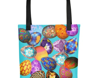 All Over Easter Eggs on Blue Book Gym Market Tote Bag