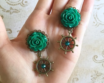 "2g 0g 00g 7/16"" 1/2"" 9/16"" 5/8"" (6mm-16mm) / Dangly Nautical Ship Wheel Rose / Plugs Gauges Stretchers Earrings / Stretched Gauged Ears"