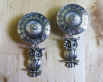 "0g - 1"" (6mm-25mm) / Dangly Owl / Plugs Gauges Stretchers Earrings / Stretched Gauged Ears"