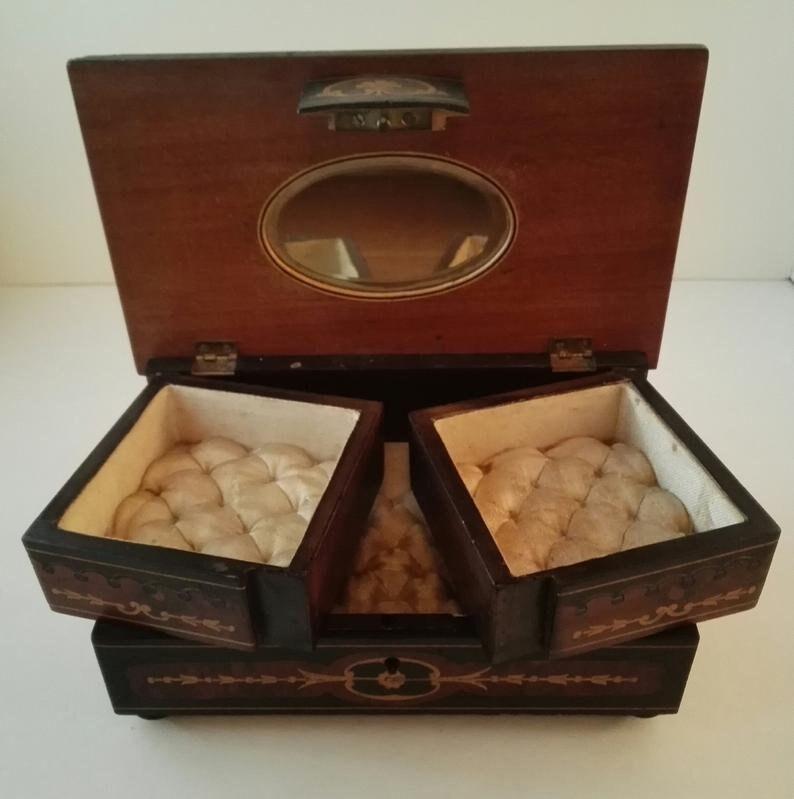Vintage wood inlay cerub treasure box
