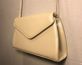 10ce56b6dd55 80s Frenchy of California cream colored shoulder bag cream leather clutch  natural purse retro 80s purse