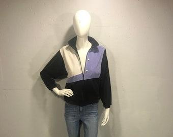 6ffece794d806 70s Pierre Cardin black velour track jacket cream lavender black soft zip  up jacket 70s Cardin plush track jacket