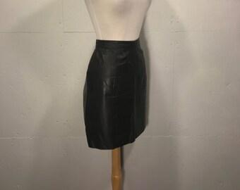 80s mini black leather skirt vintge Byrnes and Baker leather mini skirt
