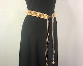 wood bead belt boho leather belt seashell trim adjustable hippie belt