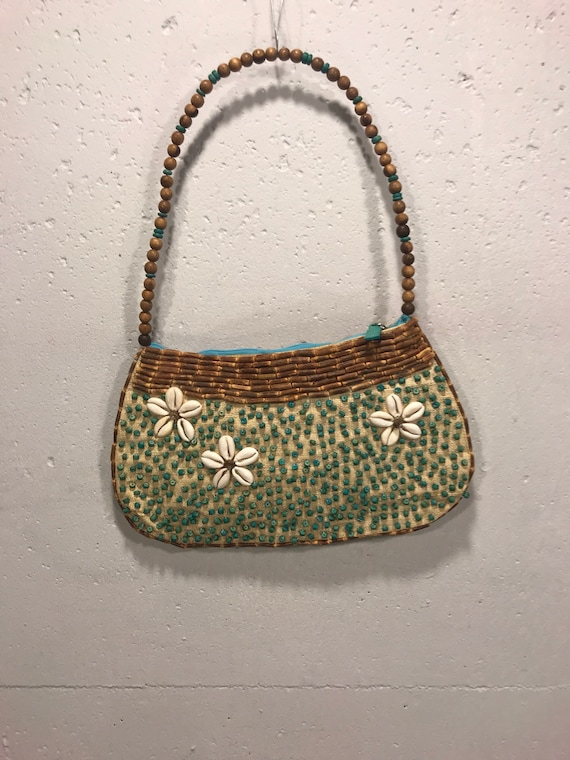 90s Mido Collection beaded shell hand bag raffia w