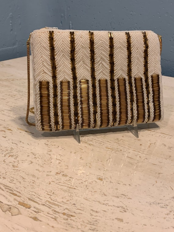 60s Ivory beaded evening  bag gold sprial chain be