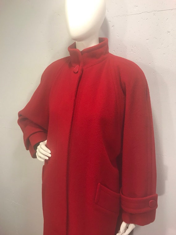 80s Perry Ellis coat, red wool winter coat, oversi