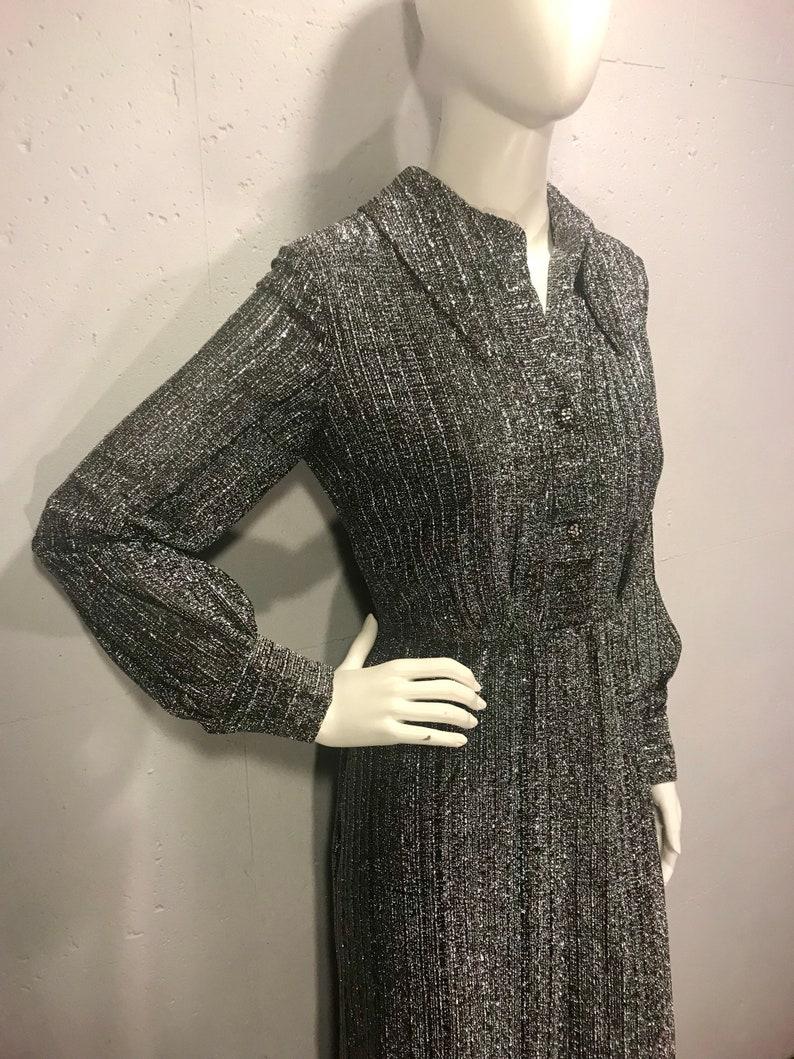 Vintage 19er Jahre Metallic Kleid, Retro Ballkleid, Silber Partykleid, Mid  Century Ball Kleid, Boden Länge Ballkleid