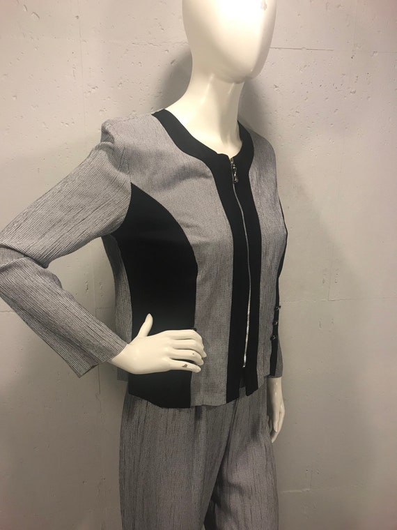90s Michelle Blake suit black and white check pant
