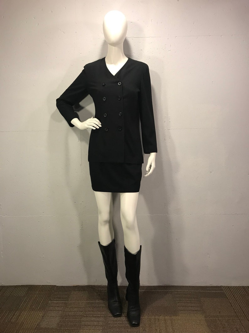 80s Ann Taylor little black dress double breast black long sleeve dress coat