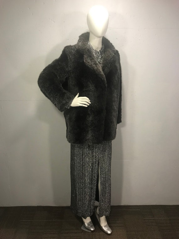 Faux fur coat, silverfox faux fur coat, 80s faux f