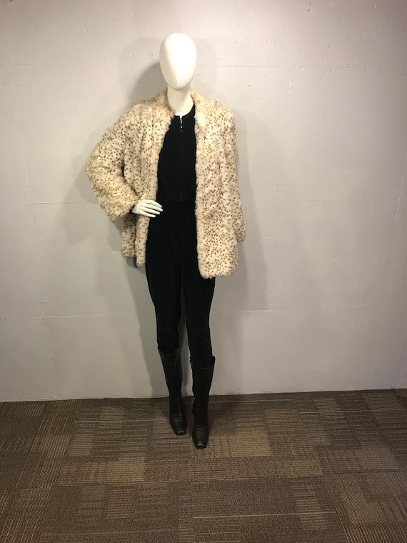 Faux fur jacket, cream fun fur, 80s retro faux fur