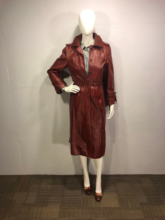 70s red/cordovan trench coat,  fitted cordovan mil