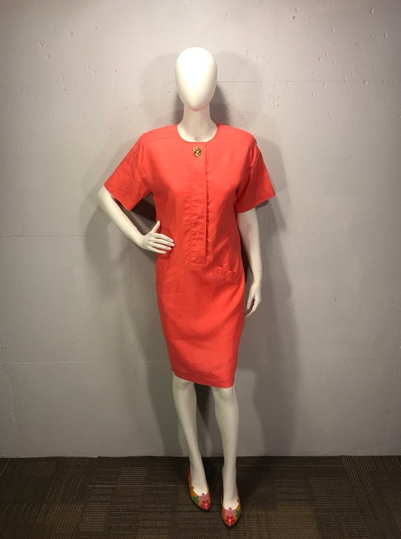 80s Liz Claiborne dressed linen tent style dress