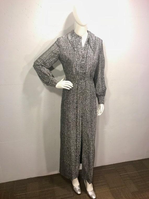 silver metalic maxi ball gown 60s retro ball gown
