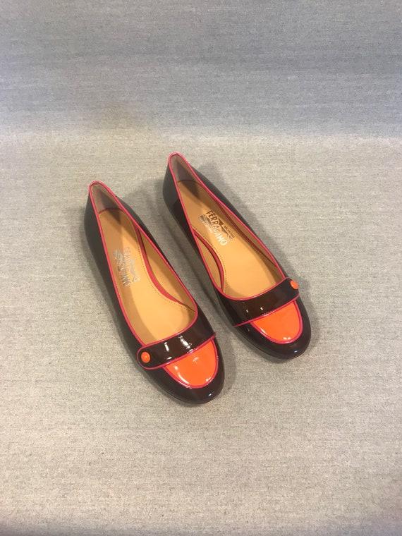 80s patent leather Faragaom black  patent flats Sa
