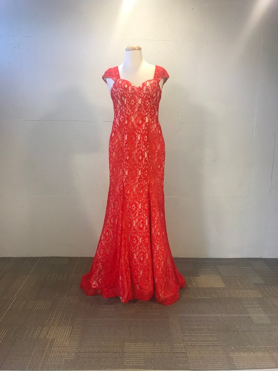 90s Scarlet lace fitted gown red prom dress mermai