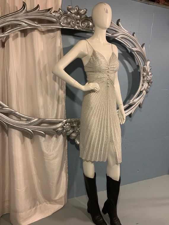 70s Fredericks of Hollywood silver metalic dress