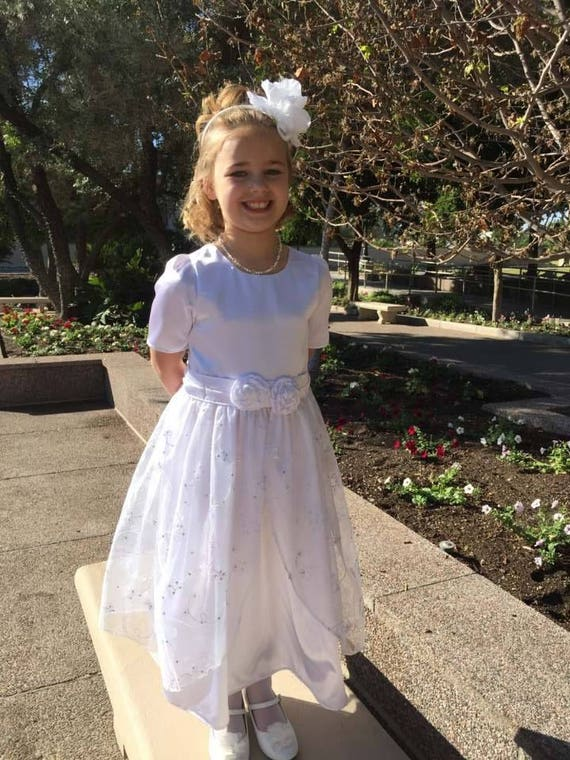 61eb987f9495a Girls Satin and embroidered organza LDS baptism dress