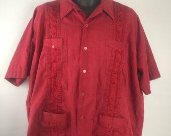 fcc6b83d Guayabera By Haband SZ 2XL Vintage 4 pocket Latin Wedding Shirt Embroidered