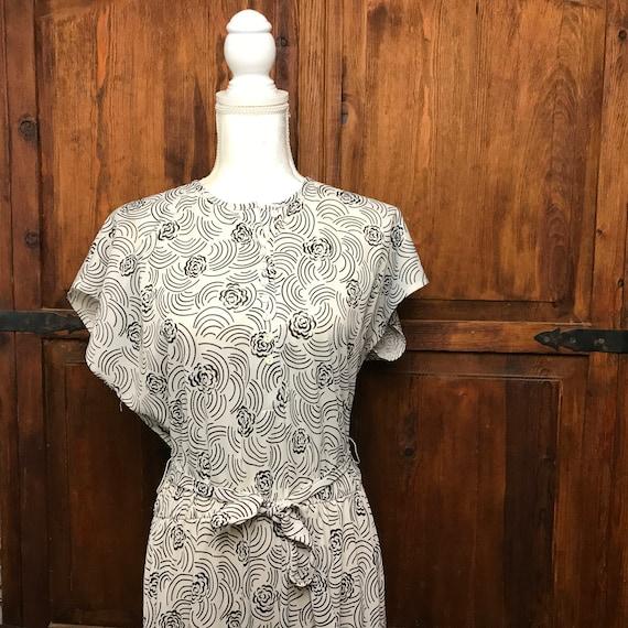 Vintage Haband Black & White Floral Dress SZ 12