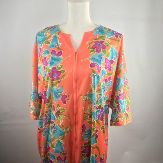 Vintage Zip Up Floral House Dress SZ M